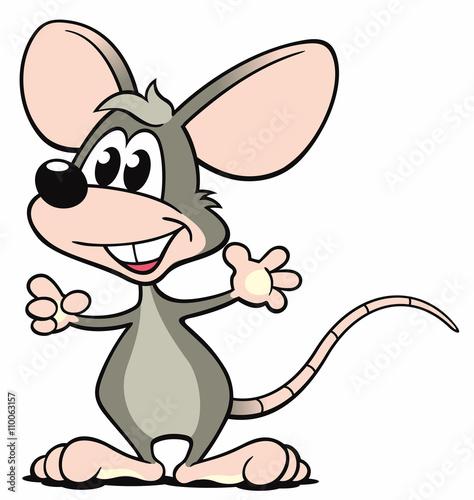 Cartoon Maus grau stehen zeigen