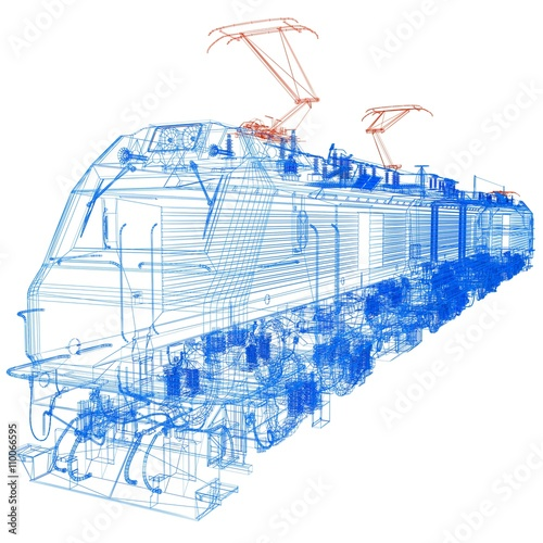 Deurstickers Schilderingen train.3D illustration