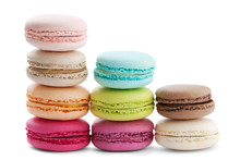 Cake Macaron Or Macaroon Isolated On White Background, Sweet And Colorful Dessert, Tower