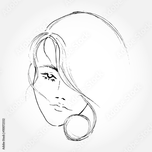 Abstract Women Face Line Art Drawing Buy This Stock