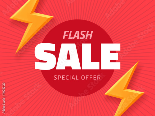 vector flash sale design with thunder vector illustration pink