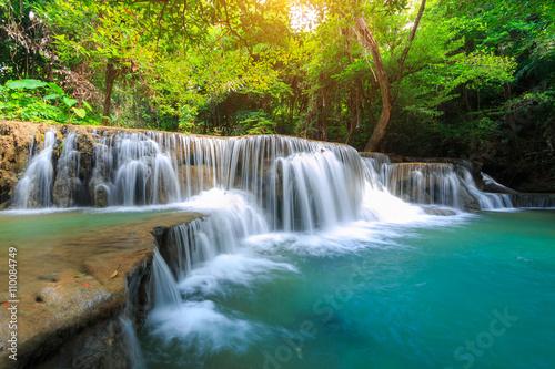 Foto op Plexiglas Groene The landscape photo, Huay Mae Kamin Waterfall, beautiful waterfall in deep forest, Kanchanaburi province, Thailand