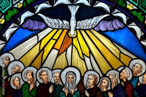 Valokuva  stained glass window depicting Pentecost
