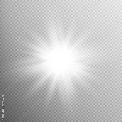 Foto  Weiß leuchtender Lichtexplosionseffekt. EPS 10
