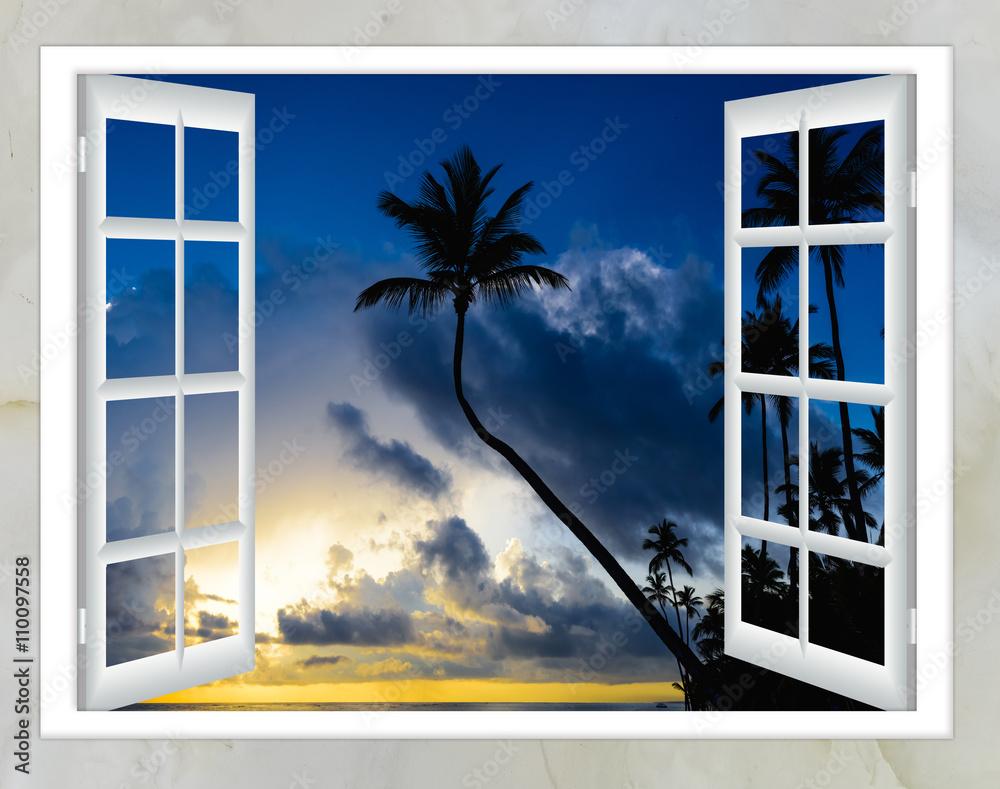 Widok na ocean z okna na wyspie słoneczny letni dzień <span>plik: #110097558 | autor: dbrus</span>
