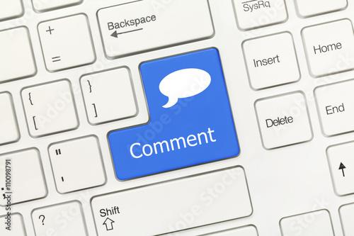 Obraz White conceptual keyboard - Comment (blue key with dialog box) - fototapety do salonu