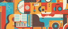 Abstract Music Background Flat...