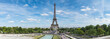 Panorama of Eiffel Tower in sunny day, Paris, France