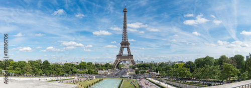 Poster Eiffel Tower Panorama of Eiffel Tower in sunny day, Paris, France