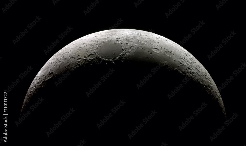 Fototapety, obrazy: High  detail Waxing Crescent Moon (15,4% illuminated) taken with SkyWatcher Mak127/1.500@3.000mm & Astrolumina alccd5l-IIc Camera. Mosaic of 14 frames.