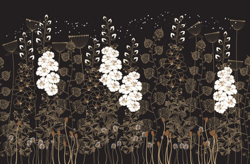 Fototapeta Botaniczne white and beige flowers and grass on a black background.vector illustration