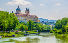 View Of The Melk Abbey In Austria From A Boat Deck