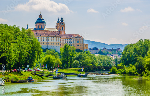 View of the melk abbey in austria from a boat deck Wallpaper Mural