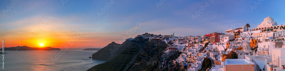 Fototapety, obrazy: Picturesque panorama of Fira, main town of the island Santorini, sea, white houses and church at sunset, Greece