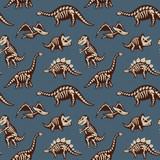 Fototapeta Dinusie - Adorable seamless pattern with funny dinosaur skeletons in cartoon style