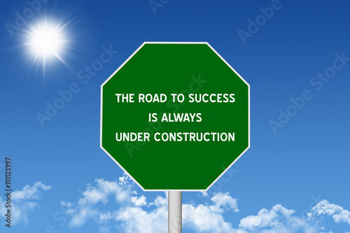 Fotografía  Road to Success Inspirational Quote Sign