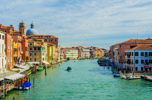 Poster Venise view of the grand canal in italian city venice from the ponte degli scalzi bridge