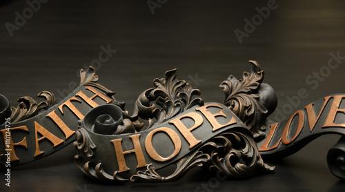 Fotografie, Tablou  Faith Hope and Love Copper Scroll Decor