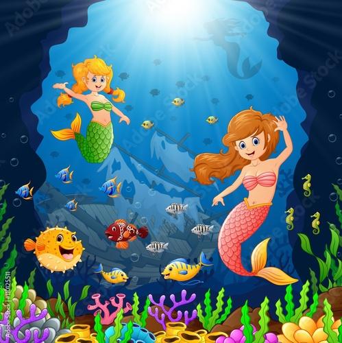 Aluminium Prints Submarine Cartoon mermaid under the sea