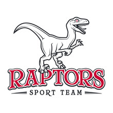 Vintage Jurassic Raptor Logo. Dino Sport Mascot Insignia Badge Design. College Team T-shirt Illustration Concept Isolated On White Background.