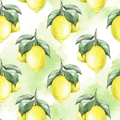 Fototapeta Lemons. Watercolor seamless pattern 3