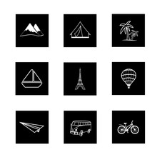 Travel Icons Square Black White Hand Painted Vector