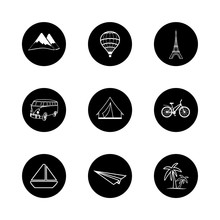 Travel Icons Round Black White Hand Painted Vector