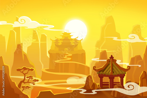 Poster Jaune Creative Illustration and Innovative Art: Ancient China. Realistic Fantastic Cartoon Style Artwork Scene, Wallpaper, Story Background, Card Design