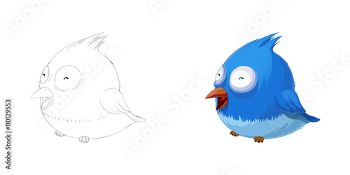 Fotografie, Tablou  Creative Illustration and Innovative Art: Animal Set: Sketch Line Art and Coloring Book: Smiling Cute Fat Bird