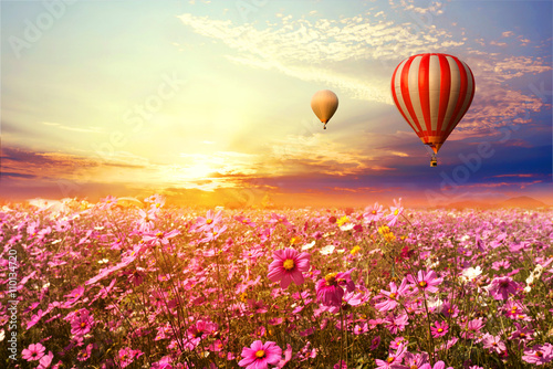 Recess Fitting Balloon Landscape of beautiful cosmos flower field and hot air balloon on sky sunset, vintage and retro filter effect style