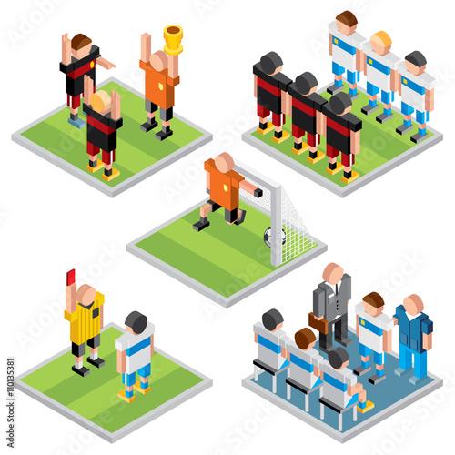 Isometric Vector Sport. Set 3D Design Soccer Icons Poster