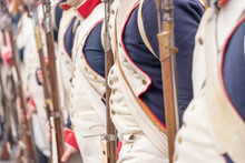 Detail View Of French Soldier Uniform From 1800s. Reenactment Of The Battle Of The Three Emperors (Battle Of Austerlitz) In 1805.