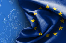 Flag Of Europe On Map Background