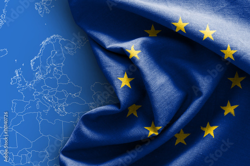 Flag of Europe on map background Wallpaper Mural