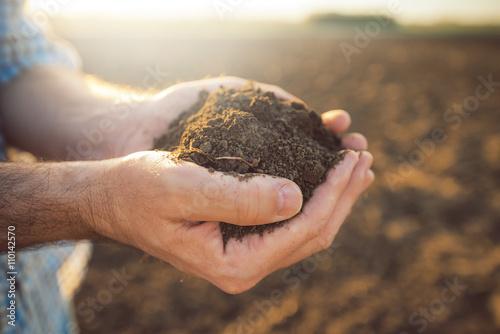Photo  Handful of arable soil in hands of responsible farmer
