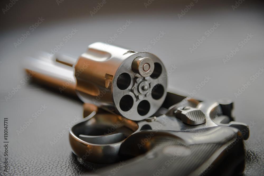 Fototapeta .357 Caliber Revolver Pistol, Revolver open ready to put bullets