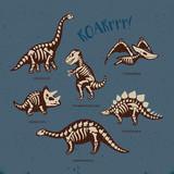 Fototapeta Dinusie - Adorable card with funny dinosaur skeletons in cartoon style