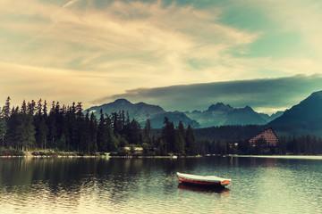 FototapetaVintage Landscape with Boats on a Lake