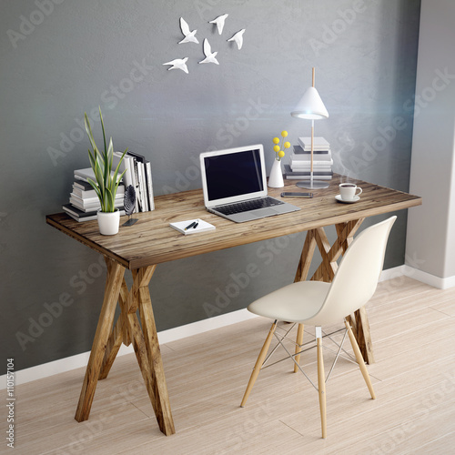 Fototapeta 3d laptop computer on a desk in home office workspace obraz