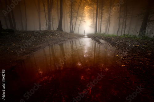 Fotobehang Bossen spooky man reflecting in water in surreal dark forest