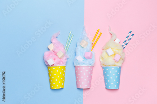 Top View of the Pastel Cotton Candy with marshmallows