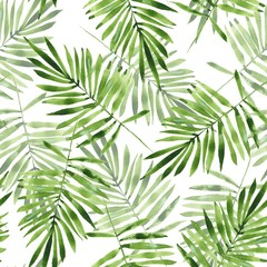 FototapetaPalm leaves. Watercolor seamless pattern 2