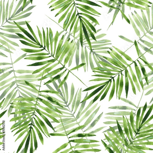 Palm leaves. Watercolor seamless pattern 2 Billede på lærred