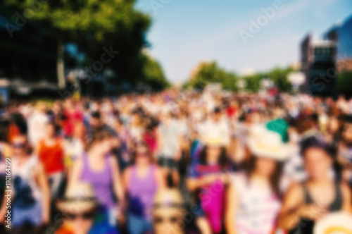 Cuadros en Lienzo defocused background of people partying or marching outdoors