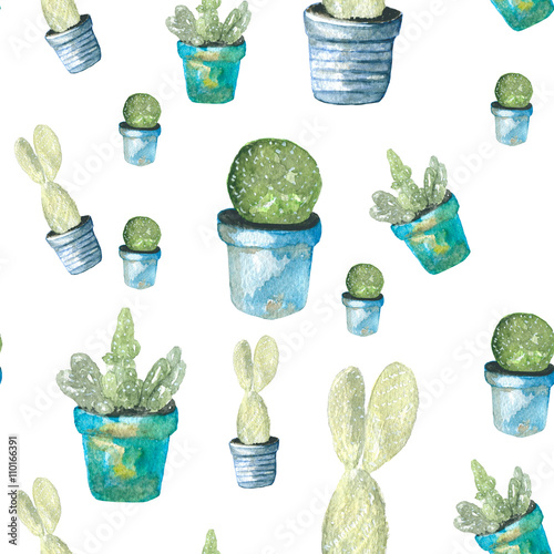 Cotton fabric Pattern cactus. Watercolor painting of a cactus. In the blue pots plants.