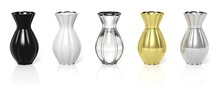 Five Different Vases In Row