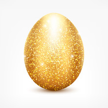 Vector Golden Glitter Egg. Shi...