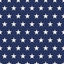 USA Flag Seamless Pattern. White Stars On A Blue Background. Memorial Day