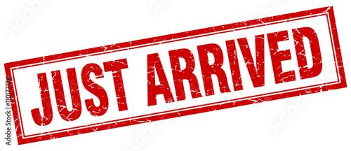 Fotografie, Obraz  just arrived red grunge square stamp on white