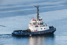 Tug Boat With White Superstruc...